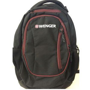 Wenger Black Three Pocket Backpack with Maroon